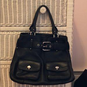 Cole haan black leather buckle handbag